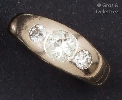 Bague jonc en or gris 14K ornée d'un diamant...