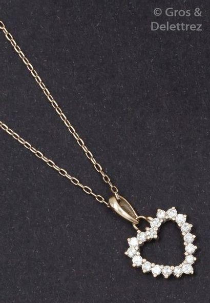 Chaîne et pendentif «?Cœur?» en or gris orné...