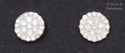 Paire de boutons d'oreilles en or gris ornés...