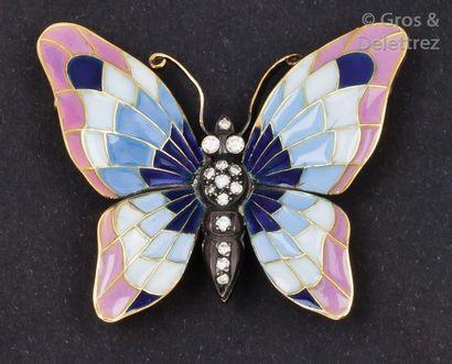 Broche «?Papillon?» en or jaune et argent,...