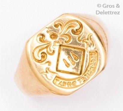 Bague chevalière en or jaune gravée d'armoiries....