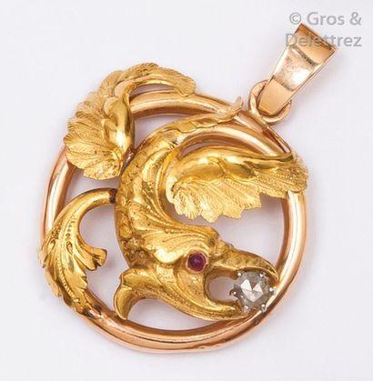 Pendentif «?Chimère?» en or jaune orné d'un...