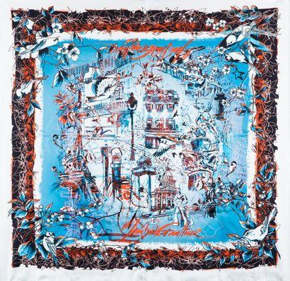 Jean Paul GAULTIER Foulards Carré en soie imprimée multicolore figurant les icônes...