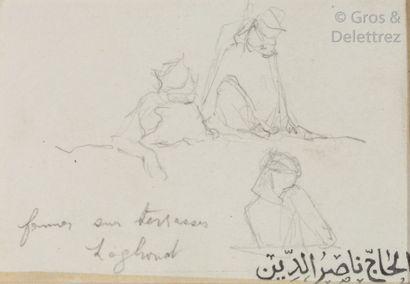 Etienne DINET (1861-1929) Trois dessins à la mine de plomb Signés du cachet en arabe....
