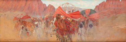 Eugène DESHAYES (1863-1939) Le cortège de la mariée, Algérie Huile sur panneau,...