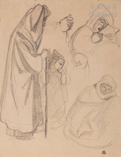 André SURÉDA (1872-1930) Hommes en prière,...