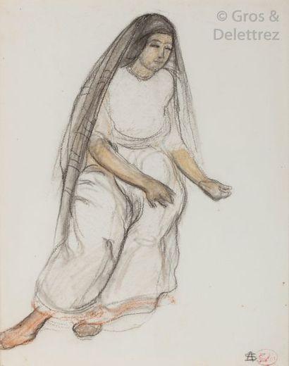 André SURÉDA (1872-1930) Algéroise Fusain...
