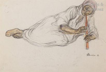 André SURÉDA (1872-1930) Le joueur de flûte...
