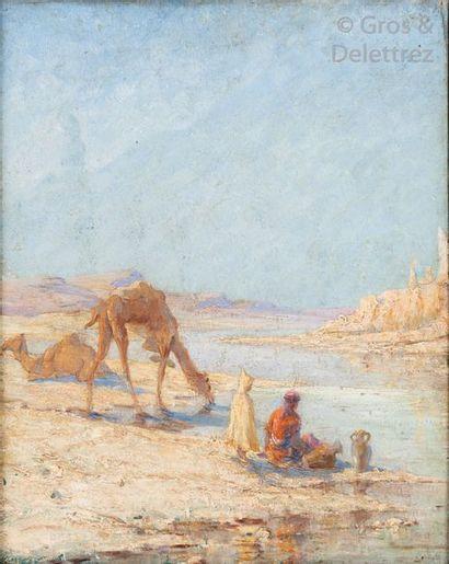 Attribué à Gustave PINEL La halte du chamelier...