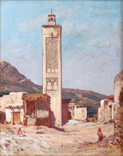 Hippolyte FAUVEL (1835 - ?) Au pied du minaret...