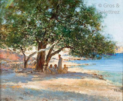 Victor HUGUET (1835-1902) Palabre à l'ombre...
