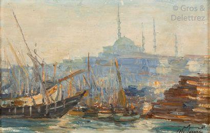 Ali SAMI BOYAR (1880-1967) Bâteaux sur le...