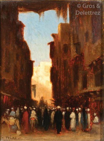 Théodore FRERE (1814-1888) «Une rue animée...