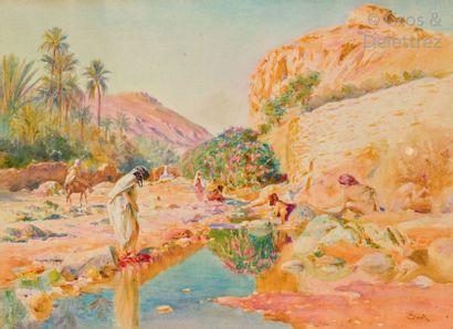 Alphonse BIRCK (1859-1942) Lavandières dans...