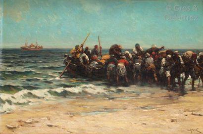 Hermanus Willem KOEKKOEK (1867-1929) Le débarquement...