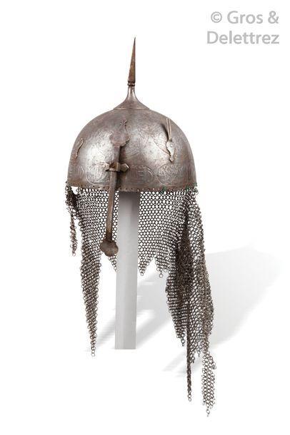 Casque (Kulah-Khud) en acier. Iran, XIXème...