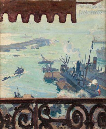Henri PONTOY (1888 – 1968) Le Port d'Alger,...