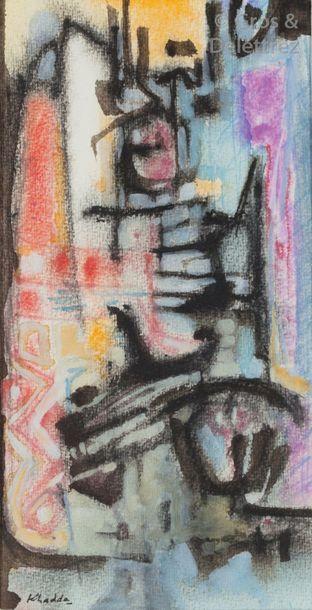 Mohamed KHADDA (1930-1991)  Composition rouge,...
