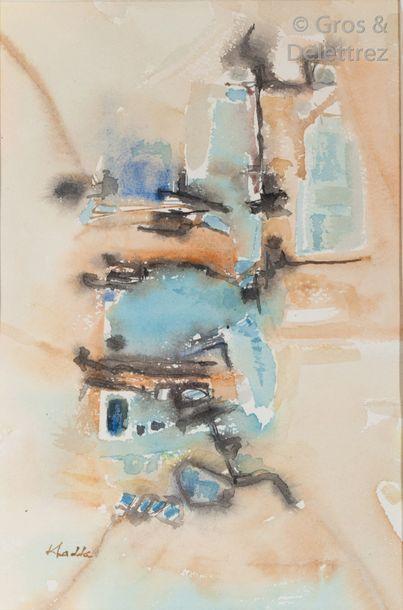 Mohamed KHADDA (1930-1991) Composition bleue...