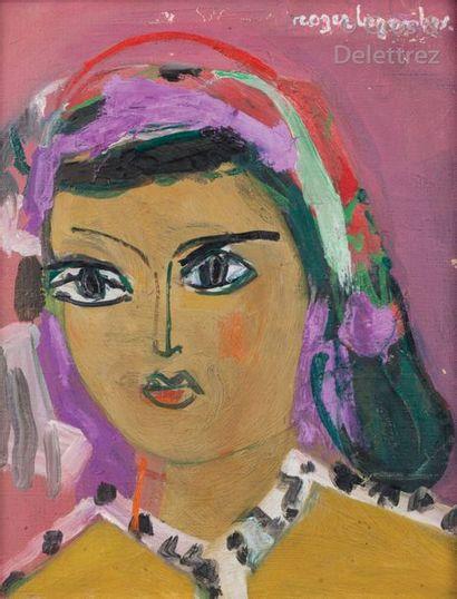Roger BEZOMBES Portrait de marocaine Huile...