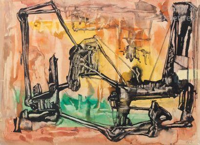Ramsès YOUNAN (1913-1966) Composition Gouache...