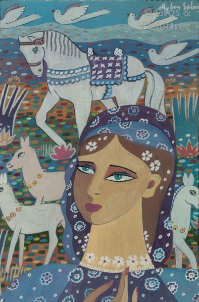 Ali BEN SALEM (1910-2001) Jeune femme aux...