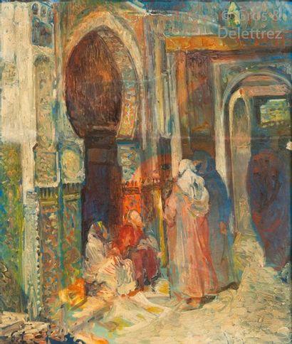 Georges LEMARE (1866-1942) Rue animée dans...