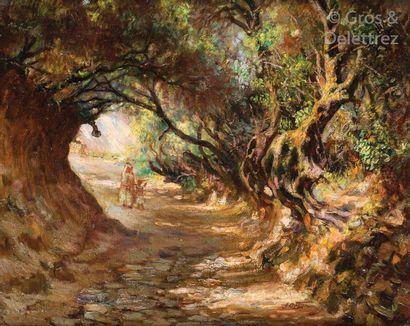 José ORTEGA (1877-1955) Mère et enfant sur un chemin creux Huile sur toile, signée...