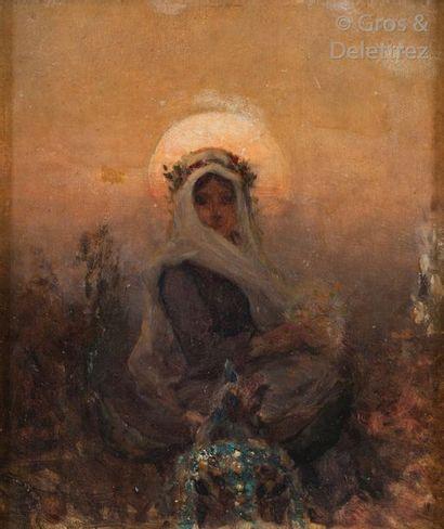 Ecole de la fin du XIXème siècle Jeune femme au voile sur un âne Huile sur panneau....