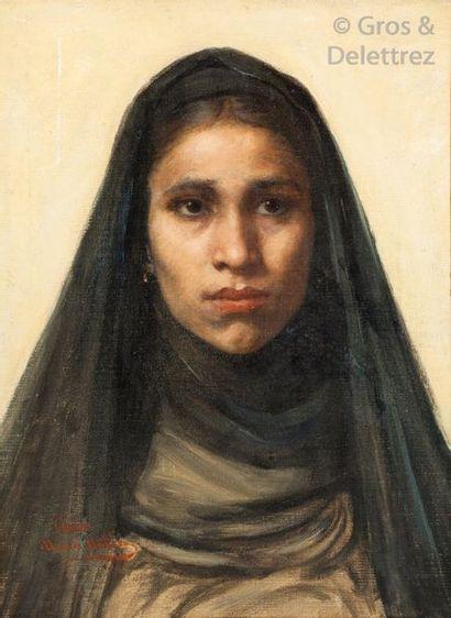 Maria MULLER (1834-1892) Jeune fille au voile Huile sur toile marouflée sur carton,...