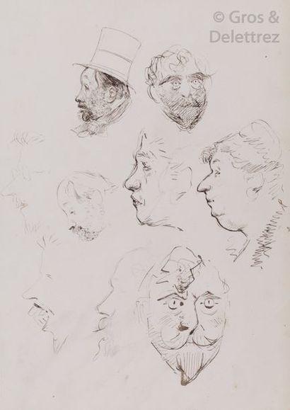 Michel MANZI Étude de visages dont deux de profil de Degas Plume et encre. Au dos...