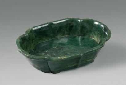 Coupe polylobéE à bords droits en jade vert...