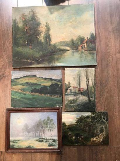 Ensemble de six paysages à l'huile, certains...