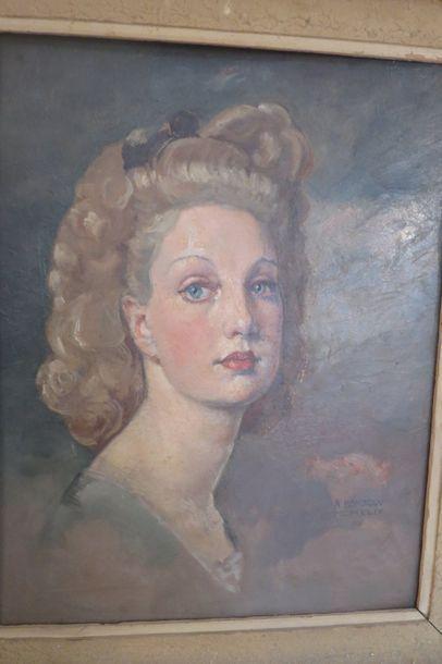 Alexandre Bondicov (Xxe) Portrait d'élégante double face  Huile sur panneau.  Signée...