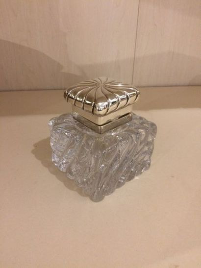 Encrier en cristal monture en métal arge...