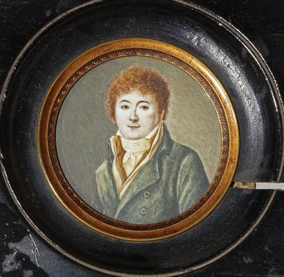 Miniature ronde  Portrait d'un jeune homme...