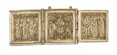 Triptyque  Déisis et divers saints.  Bronze....