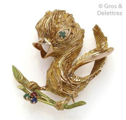 Broche «?Oiseau sur une branche?» en or jaune...