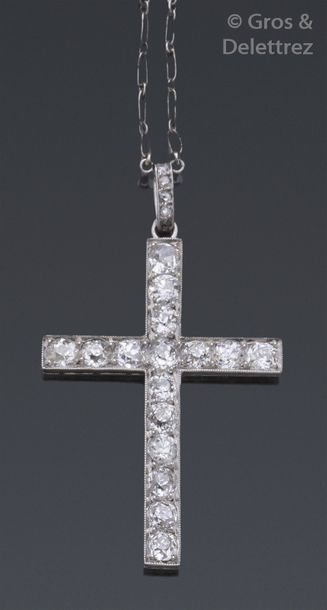 Chaîne et pendentif «?Croix?» en or gris...