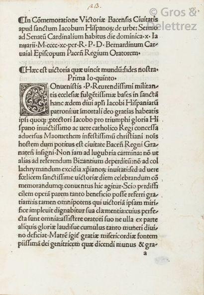 Un incunable à la veille de la chute de Grenade  CARVAJAL (Bernadinus). Sermo...