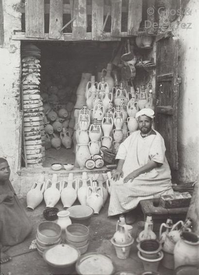 Marcelin Flandrin (1889-1957)  Maroc, c. 1930.  École de broderie. Rabat. Cimetière....
