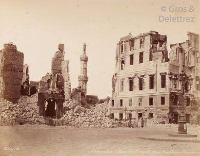 Félix Bonfils (1831-1885)  Bombardemant d'Alexandrie par les Anglais, 1882.  Vue...