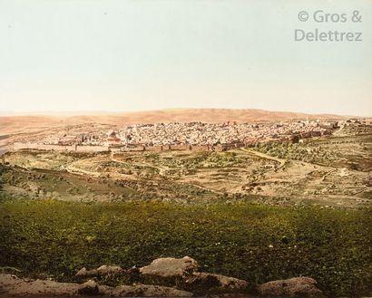 Photoglob Zurich  Jérusalem, c. 1890-1900.  Photocrhome d'époque.  42 x 52,5 cm