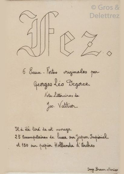DEGORCE Georges-Léo. Fez 6 eaux-fortes originales,...