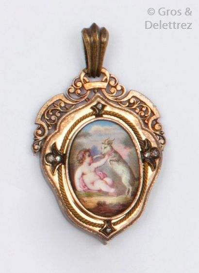 Pendentif en or et argent orné d'une miniature...