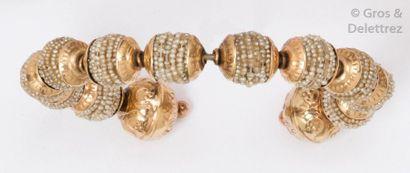 "Bracelet ""Jonc"" ouvert en or jaune 14 K et..."