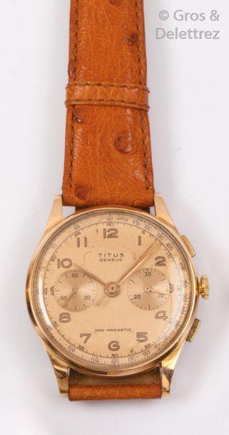 TITUS Montre de poignet chronographe en or jaune et acier doré, boîtier rond, cadran...