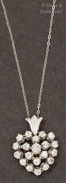 Chaine et pendentif «?Cœur?» en or gris,...