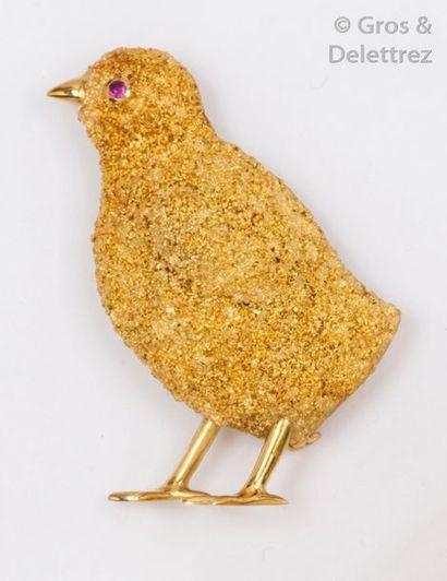 Broche «?Poussin?» en or jaune ciselé, l'œil...