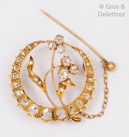 Broche «?Fleur?» en or jaune, ornée de diamants...
